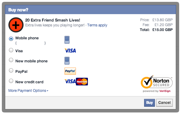 Facebook Canvas Payment